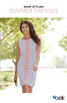 Step out and strut in this figure-skimming J Howard Stripe Shift Dress. Its delicate crochet trim adds contrast and a touch of modern but timeless femininity. Stripes are huge this summer, and you can't go wrong when you pair this dress with comfy flip-flops or your favorite espadrilles. Add a fun, neutral summer tote and sunglasses – maybe even a flirty, floppy hat – and you're simply stunning in stripes! Get it all at Belk.com today.