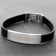 Best Man Gift Idea - Personalised Rubber and Steel Bracelet