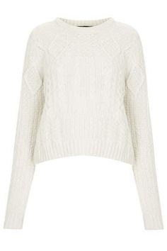 Womens Shrunken Cable Sweater - Cream, Cream - £42 on Vein - getvein.com