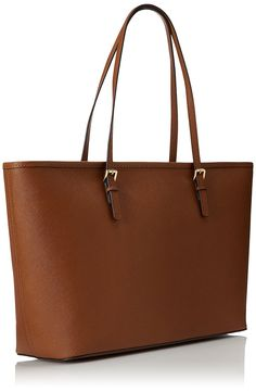 f9c1e10406bc Michael Kors Womens Jet Set Travel Top Zip Handbag, Brown (Brown), One  Size. Brown BrownJet SetLeather ...