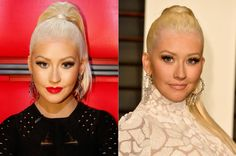 Christina Aguilera, with and without her signature red lipstick