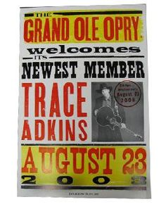 Trace Adkins Opry Induction Hatch Show Print