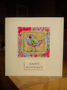 Machine sewn birdie birthday card made with Cath Kidston fabrics and a heart button