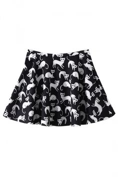 Black Cute Ladies Ruffle Mini Cat Printed Pleated Skirt - PINK QUEEN