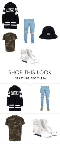 """""""BLKNWHITE"""" by albywityou on Polyvore featuring Hood by Air, Valentino, Lanvin, kangol, men's fashion and menswear"""