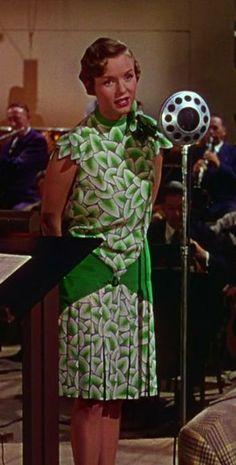reviews_and_ramblings | Lee & Walter Plunkett - Debbie Reynolds' fabulous leaf print dress in Singin' in the Rain. Costume Designer: Walter Plunkett