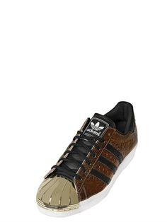 ADIDAS ORIGINALS BLUE - SUPER STAR 80S WRINKLED LEATHER SNEAKERS - LUISAVIAROMA - LUXURY SHOPPING WORLDWIDE SHIPPING - FLORENCE