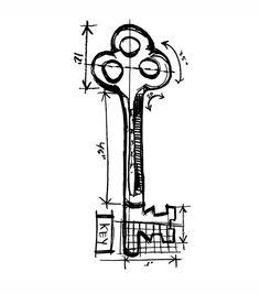 Tim Holtz Red Rubber Stamp-Key Sketch