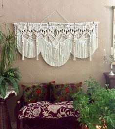 Are you ready to add some Bohemian decor to your home? Macrame Artist Lucy Lanuza has created this extra large macrame with quartz crystal just for you. Boho Chic, Bohemian Decor, White Bohemian, Modern Bohemian, Wedding Cake Backdrop, Crystal Wall, Quartz Crystal, Large Macrame Wall Hanging, Style Deco