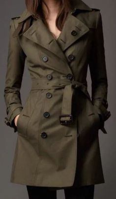 Burberry-Women-Queensborough-Cotton-Classic-Trench-Coat-EU 8-Green-(6US)-sale