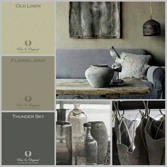 Pure & Original Moodboard Old Linen, Flannel Grey, Thunder Sky Fresco lime paint.