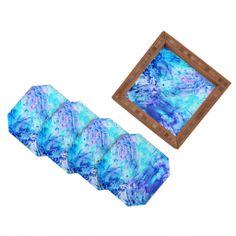 Rosie Brown Ocean Bottom Coaster Set | DENY Designs Home Accessories #coaster #homedecor #beverage #barset #denydesigns #denyholiday #art