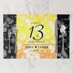 Elegant 13th Citrine Wedding Anniversary Placemat