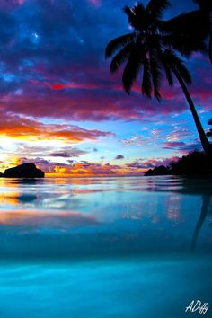 Sunset, Tahiti     .