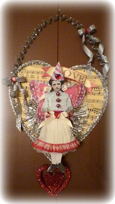 Vintage Inspired Valentine Fairy Altered Art Hanging Heart Collage