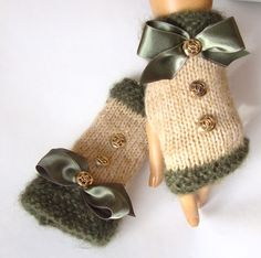 Hand Made Knitting, Emerald Green Beige Fingerless Gloves, Arm Warmer Adorned  Ribbon And Buttons, Winter Fashion