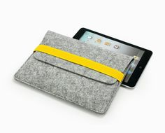 Pure Wool Felt iPad Mini Case iPad Mini Cover iPad Mini Sleeve iPad Mini Bag Pouch Attached Yellow Elastic Band Handmade 1948m