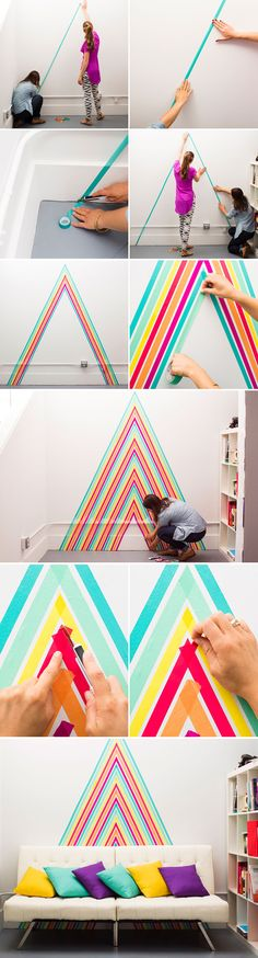 Easy, renter-friendly wall decor using washi tape.                              …