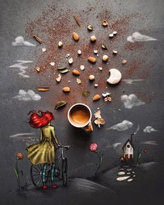 When you could soak the moon into the sun and take a bite :) * * Have a great day friends * * Illustration made w/ and Coffee World, Little's Coffee, Coffee Is Life, I Love Coffee, Coffee Cafe, Coffee Break, Art Cafe, Pause Café, Good Morning Coffee