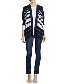 Half-Sleeve Striped Cape Cardigan, 3/4-Sleeve Embroidered Tee & Straight-Leg Ankle Jeans by Escada at Neiman Marcus.