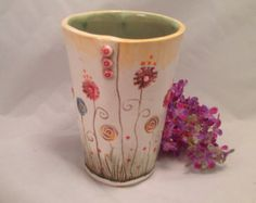 Tumbler/ceramic tumbler/cup/pottery cup/toothbrush holder/pencil holder/flowers/sage green/yellow