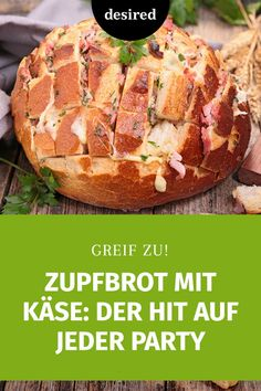 Plucked bread with cheese is just right in cold weather: can be broken from the filled bread snacks that pull delicious cheese threads. Party Finger Foods, Snacks Für Party, Lunch Snacks, Appetizers For Party, Sandwiches For Lunch, Sandwich Recipes, Bread Recipes, Chicken Recipes, Vegan Breakfast Recipes
