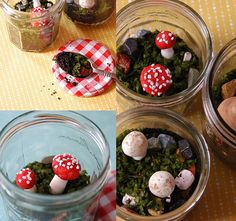 Edible mushroom terrarium DIY, Oh My! Seriously, can Heidi of My Paper Crane get any more clever and creative. I SO wish I had thought of this!