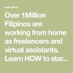 Over Filipinos are working from home as freelancers and virtual assistants. Learn HOW to start in this FREE Course. Leyte, Free Courses, Virtual Assistant, Filipino, Philippines, How To Become, Learning, Studying, Teaching