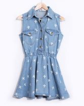 #SheInside    Light Blue Sleeveless Cross Print Denim Dress $30.32