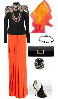 """Evening Party Hijab"" by lina-shehzad ❤ liked on Polyvore"