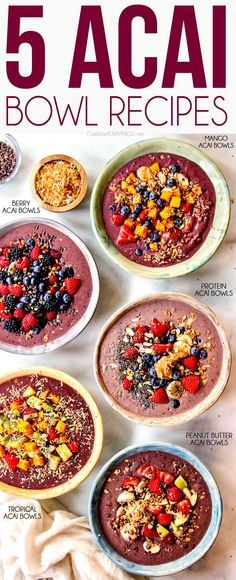 Acai Bowl 5 Homemade recipes how to make ahead tips tricks Healthy Breakfast Recipes, Easy Healthy Recipes, Healthy Snacks, Easy Meals, Acai Healthy, Healthy Cooking, Cooking Tips, Whole30 Recipes, Sweet Recipes