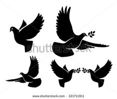 Vector flying dove with olive branch black silhouettes on white background Pet Pigeon, Dove Pigeon, Pigeon Bird, Bird Silhouette, Black Silhouette, Silhouette Vector, Dove With Olive Branch, Dove And Olive, Dove Images