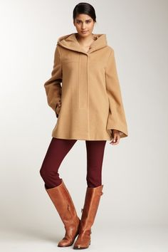 {camel hooded coat} Nicole Miller - love this whole look!