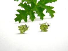 Raw peridot earrings studs sterling silver by nikiforosnelly