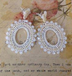 Soft Cream Beadwork Hoop Post Earrings CREAM GODDESS   Etsy Seed Bead Earrings, Seed Beads, Beaded Earrings, Etsy Earrings, Earrings Handmade, Crochet Earrings, Beaded Jewelry Designs, Bead Jewellery, Mother Of Pearl Earrings