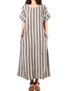 #NewChic - #NewChic Casual O-neck Short Sleeves Striped Dresses For Women - AdoreWe.com