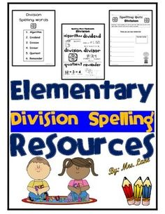 Are you looking for spelling words to incorporate into your division unit? Look no further! SPELLING WORDS: Algorithm, Dividend, Division, Divisor, Quotient, and Remainder.------------------------------------------------------------------------------------------------INCLUDES: -Spelling Word List-Spelling Word Flashcards-Spelling Quiz------------------------------------------------------------------------------------------------*5 Pages Total.-Look for similar versions of this product in my…