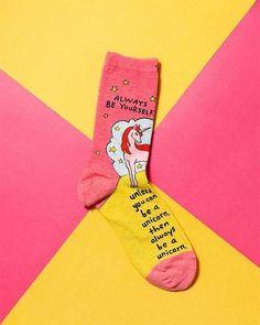 Always Be a Unicorn Socks Flat Lay Photography, Photography Ideas, Clothing Packaging, Shops, Calf Socks, Just Pretend, Bear Wallpaper, Funny Socks, Kids Socks