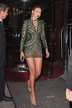 Gigi Hadid in a Balmain spring 2016 mini dress