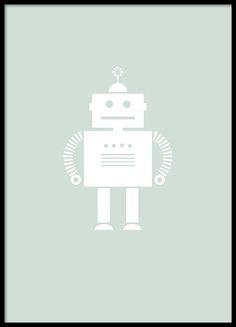 Een mooie poster met illustratie van een schattige robot op een groene achtergrond. Een poster die zowel geschikt is voor de kinderkamer als andere kamers. www.desenio.nl