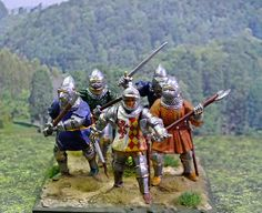 Commission: A group of Gascon knights that fought on the English side at Crecy 1346, and Poitiers 1356. On the left (blue & yellow tabard) is Dennis de St Omer, sire de Morbecque. In the centre, Bertrand sire de l'Esparre with three unnamed Gascon knights. Last two pictures shows the whole group growing! 28mm hard plastic Perrys.