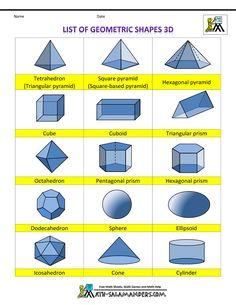 printable shapes list of geometric shapes 3d