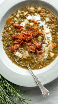 Lentil-Apple Soup with Bacon & Buttermilk by Vivian Howard | In this one-pot dish, smoky bacon, earthy lentils, and caramelized vegetables get a kick from ginger, tart apple, and tangy buttermilk. It's great for satisfying a crowd, or it will freeze well for healthy comfort in a hurry.
