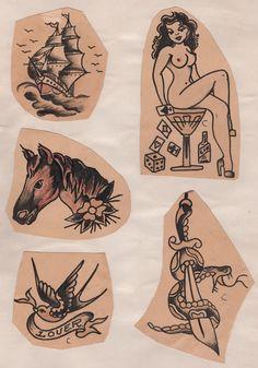 Vintage Tattoo Art, Vintage Tattoo Design, Doodle Tattoo, Tattoo Drawings, Traditional Tattoo Design, Traditional Sailor Tattoos, Traditional Tattoo Flash Art, Traditional Tattoo Old School, Sailor Jerry Tattoo Flash