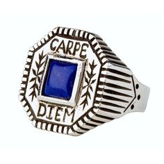 Carpe Diem Silver and Blue Lapis Ring Spitfire girl