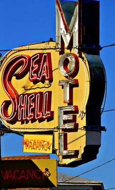 "Sea Shell Motel. Pretty sure we would all start saying ""She sells sea shells by the sea shore"" and other tongue twisters every time we drove by this motel."