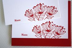Personalized Letterpress Lehua Blossom Cards by alohaletterpress, $34.00