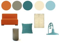 color palette. LOVE teal and orangey tones mixed with neutrals