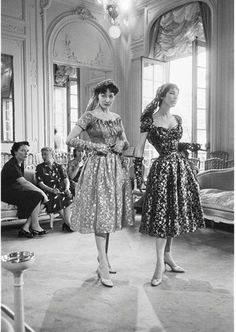 House of Dior-Models in Metallic Dresses, 1953