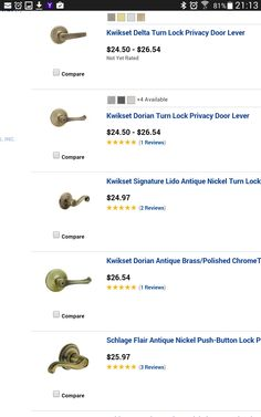 Trubolt antique brass entry wknob at Menards Knobs Pinterest